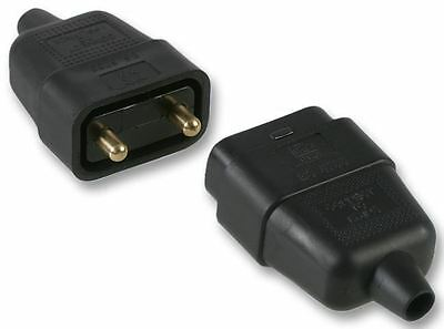 PRO ELEC - 2 Pin In-Line Rubber Connector, 10A Black