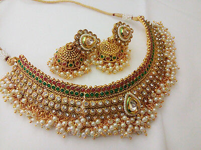 New Indian Bollywood Jewelry choker necklace Set Ethnic Gold traditional Set