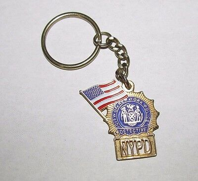 NYPD Detective New York City Police Department Key Chain Fob Shield US Flag