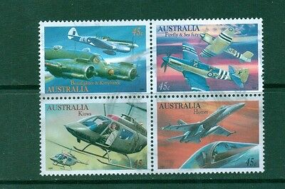 Australia 1996 used block of 4 SC# 1481-1484 Military Aviation, Airplanes