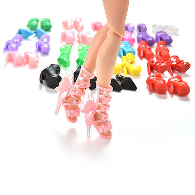 40 Pcs/20 Pair Slap-up Fashion High-Heeled Shoes For Barbie Dolls   liau