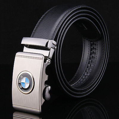 BMW Fashion Casual Luxury Leather Mens Belt Automatic Buckle Waistband Strap