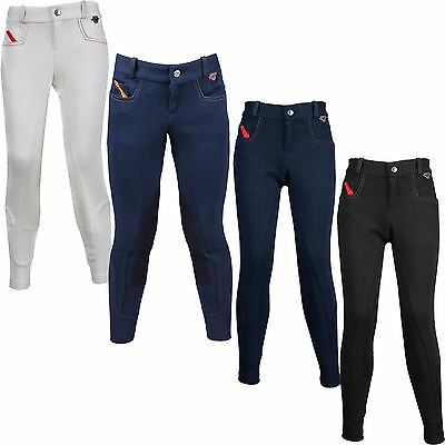 Red Horse Equestrian Boys Kids Dylan Elastico Leather Knee Patch Rider Breeches