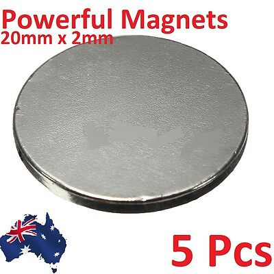 5 x Powerful Strong 20x2mm Disc Round Magnets 20mm x 2mm Rare Earth Magnet N35