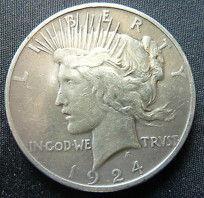 1924 United States USA Peace Dollar 90% Silver Coin