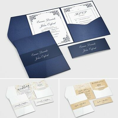 Personalised Pocketfold Wedding Invitations Day or Evening + Envelopes