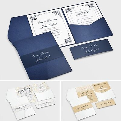 Pocketfold Wedding Invitations with RSVP and Info Cards + FREE Envelopes (G7)