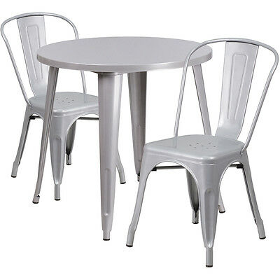 Flash Furniture 30'' Round Silver Metal Indoor-Outdoor Table Set with 2 Cafe...