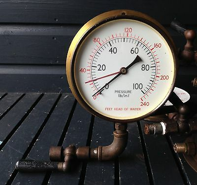 Vintage brass 6 inch pressure gauge dial steampunk, many available