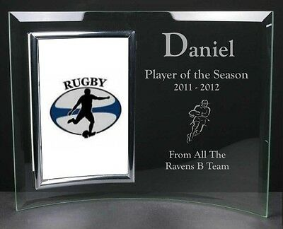 Personalised 6 x 4 Glass Photo Frame Rugby Football Award Trophy & Prize