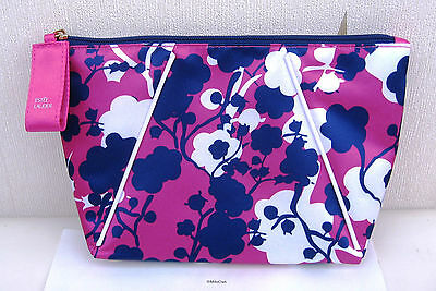 Job Lot of 5 X Estee Lauder Pink Purple & White Patterned Lined Bags New +Motifs
