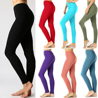Women's Cotton Full Length Leggings Stretch Spandex Yoga Pants Long Fitness