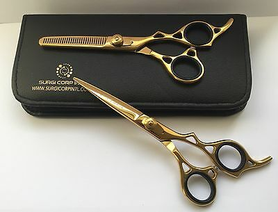"""Professional Hairdressing Scissors Barber Hair Cutting Gold Edition 6.5"""" Set"""