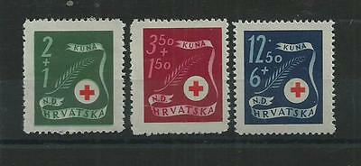 Croatia 1944 Red Cross Set Pristine Mnh**