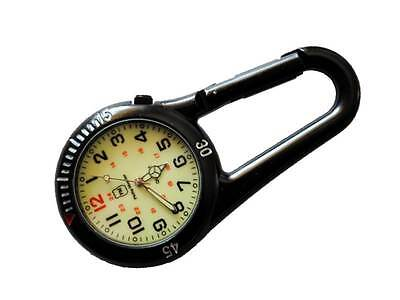 Black Metal Clip Watch with White Dial for Paramedic Ambulance Nurse Medic Docs