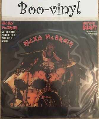 "Nicko McBrain - Rhythm Of The Beast (7"" Shaped Picture Vinyl) iron maiden Ex"