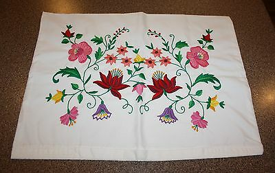 Hungarian Embroidered Kalocsa Floral Pillowcase Pillow Cover Sham