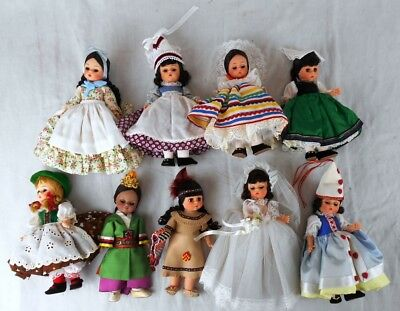 Lot of 9 Madame Alexander Dolls: 6 Countries & 3 Characters