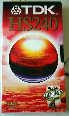 Blank VHS Video Tape - TDK HS240 - 4/8 Hour - New/Sealed