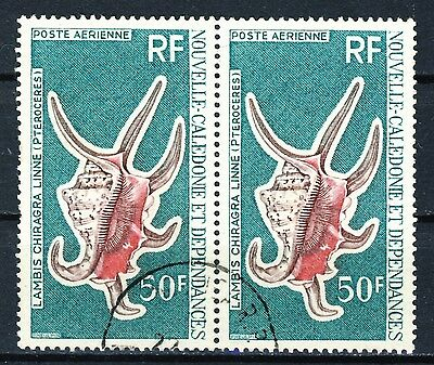"""New Caledonia Stamps VF scarce used pair of high values """" Lambis Chiragra Linne"""""""