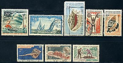 New Caledonia 8 Stamps VF used depicting Shells, Boats etc.
