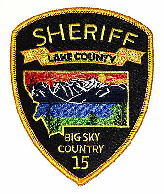 LAKE COUNTY MONTANA MT  Police Sheriff Patch BIG SKY COUNTRY STATE SHAPE OUTLINE