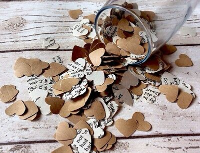 1000 Romantic Paper Heart kraft confetti book confetti Wedding Table Decoration