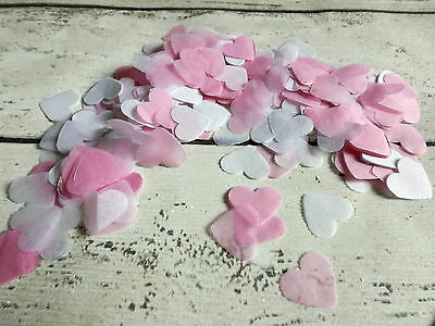 1000 vintage romantic tissue paper heart confetti white and Pink wedding