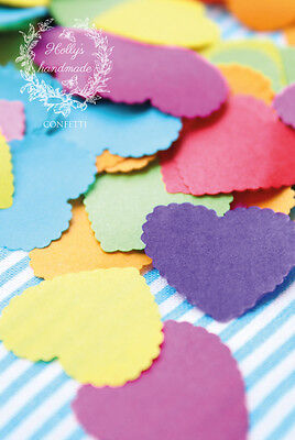 1000 x Scalloped Tissue Paper Rainbow Hearts Confetti/Favors/Multi-Coloured