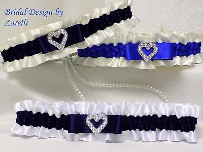 BRIDAL GARTER. White/Ivory satin. Silver coloured heart.Royal/Navy contrast trim