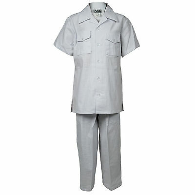 Boys White Linen Set 2 Piece Two Pocket Shirt With Pant Sizes 4 to 18