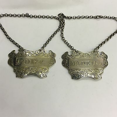 Pair Of Victorian Solid Silver Label's Port & Madeira George Unite 1846