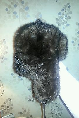Vintage Russian mink hat with fold down flaps