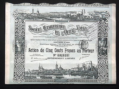 Societe Metallurgique De L'oural-Volga - Action 500 Francs 1899