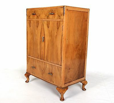 Vintage Art Deco Cabinet French Millinery Cupboard Linen Chest Walnut 1930s
