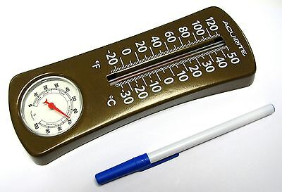 Very Rare Vintage - Acurite Wall Hung Metal C° F° Thermometer Humidity Meter