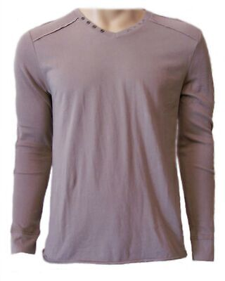 New SILVER Jeans Co Men's Fungi Brown Casual Knit V-Neck L/S Tee Shirt $42