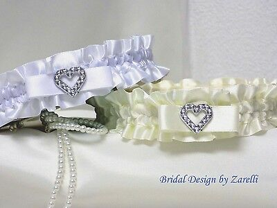 """BRIDAL GARTER. White or Ivory satin. With Silver heart & """"Something blue"""" added"""