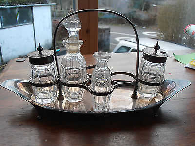 Vintage Silver plated condiment/cruet set & stand - Atkin Brothers