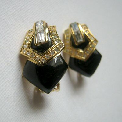 Vintage Black Gold with Rhinestone Clip On Earrings