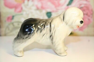 Old English Sheepdog Bobtail dog porcelain figurine statuette