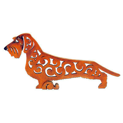Wirehaired dachshund figurine, red, statuette made of wood