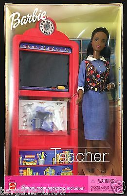 Barbie Teacher African American AA 3 Lessons Dinosaurs Music Geography NRFB