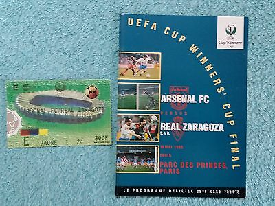 1995 - CUP WINNERS CUP FINAL PROGRAMME + MATCH TICKET - ARSENAL v REAL ZARAGOZA