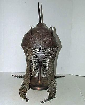 Antique 18th Century Islamic Mughal India Indo Persian Helmet KulahKhud to sword