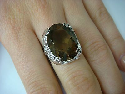 Antique 18K White Gold Filigree Art-Deco Ladies Ring With Large Smokey Topaz