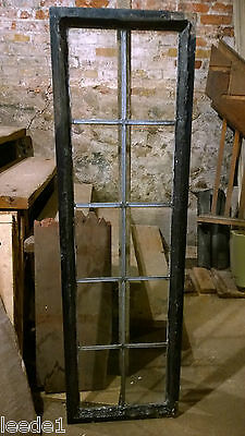 Decorative Vintage Leaded Window Steel Casing 10 Panes Salvage