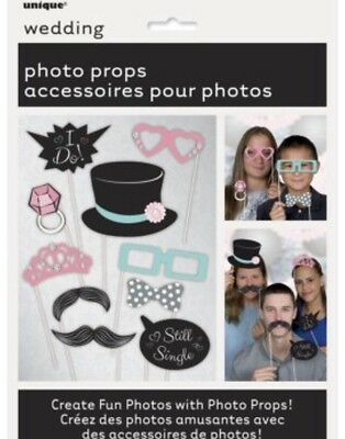 Wedding Photo Booth Props Pack 10 Glasses Moustaches Hats Decoration