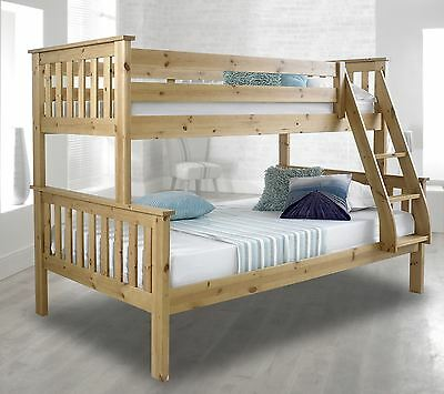 Brand New Solid Bunk Bed Triple Sleeper Bed With Mattress Pine Or White