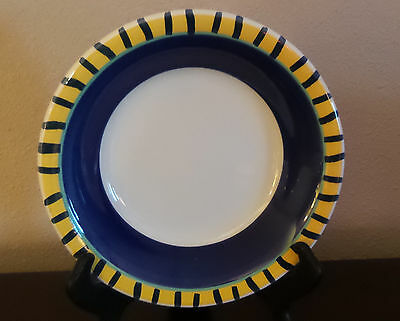 Pier1 Handpainted In Italy Per50 Soup Bowls x1 Blue,Yellow Green Band